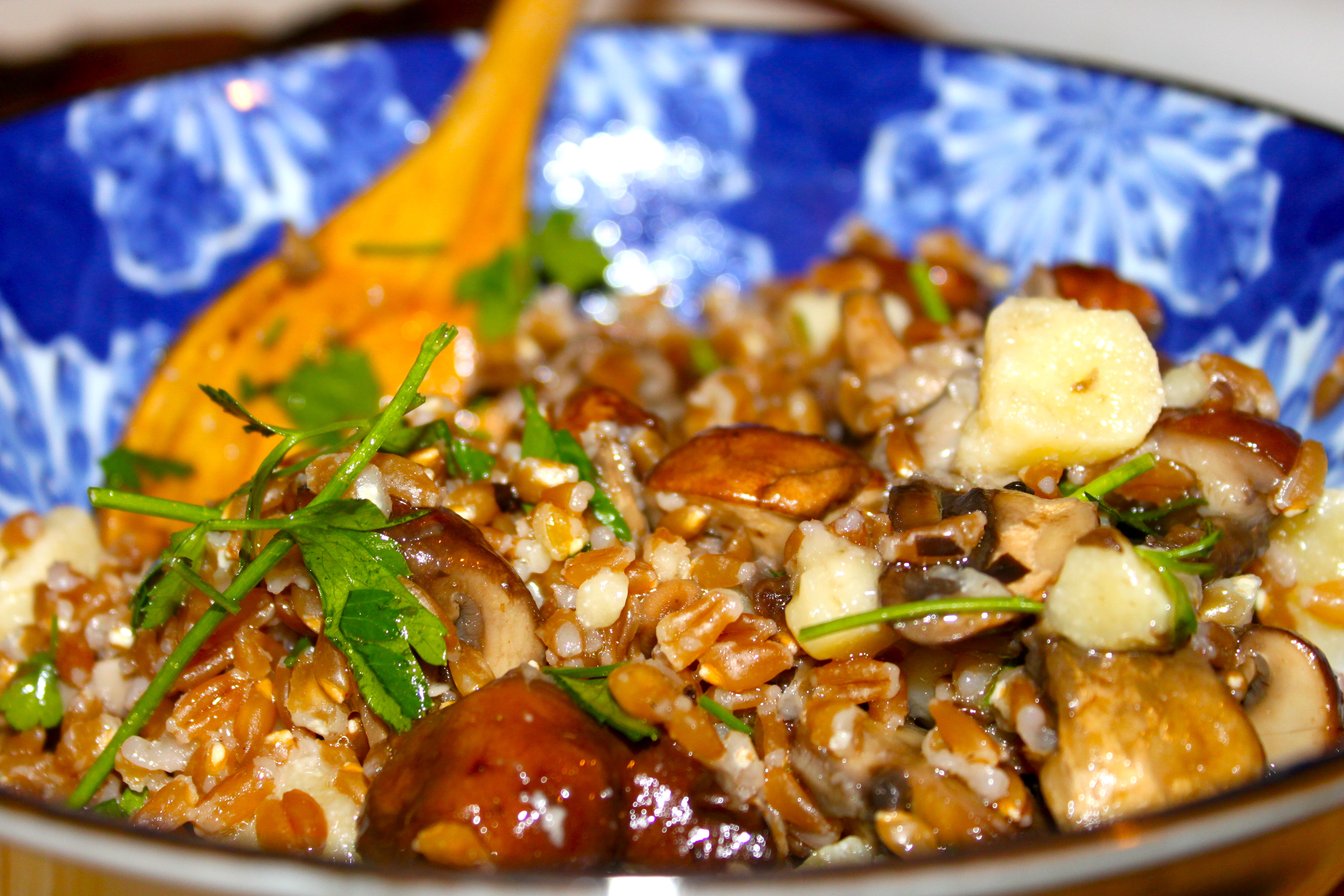 Farro Salad with Mixed Mushrooms & Pepato | Ramshackle Glam