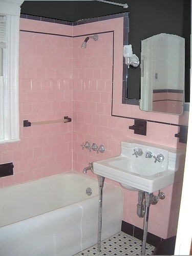 Retro home accents what to do with pink and black What color to paint bathroom with gray tile