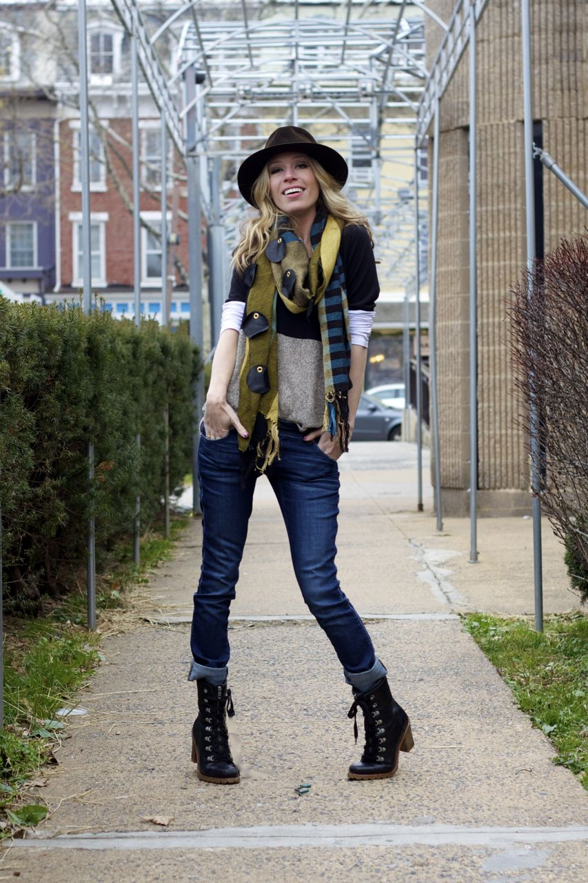 women combat boots with jeans with creative trend | sobatapk