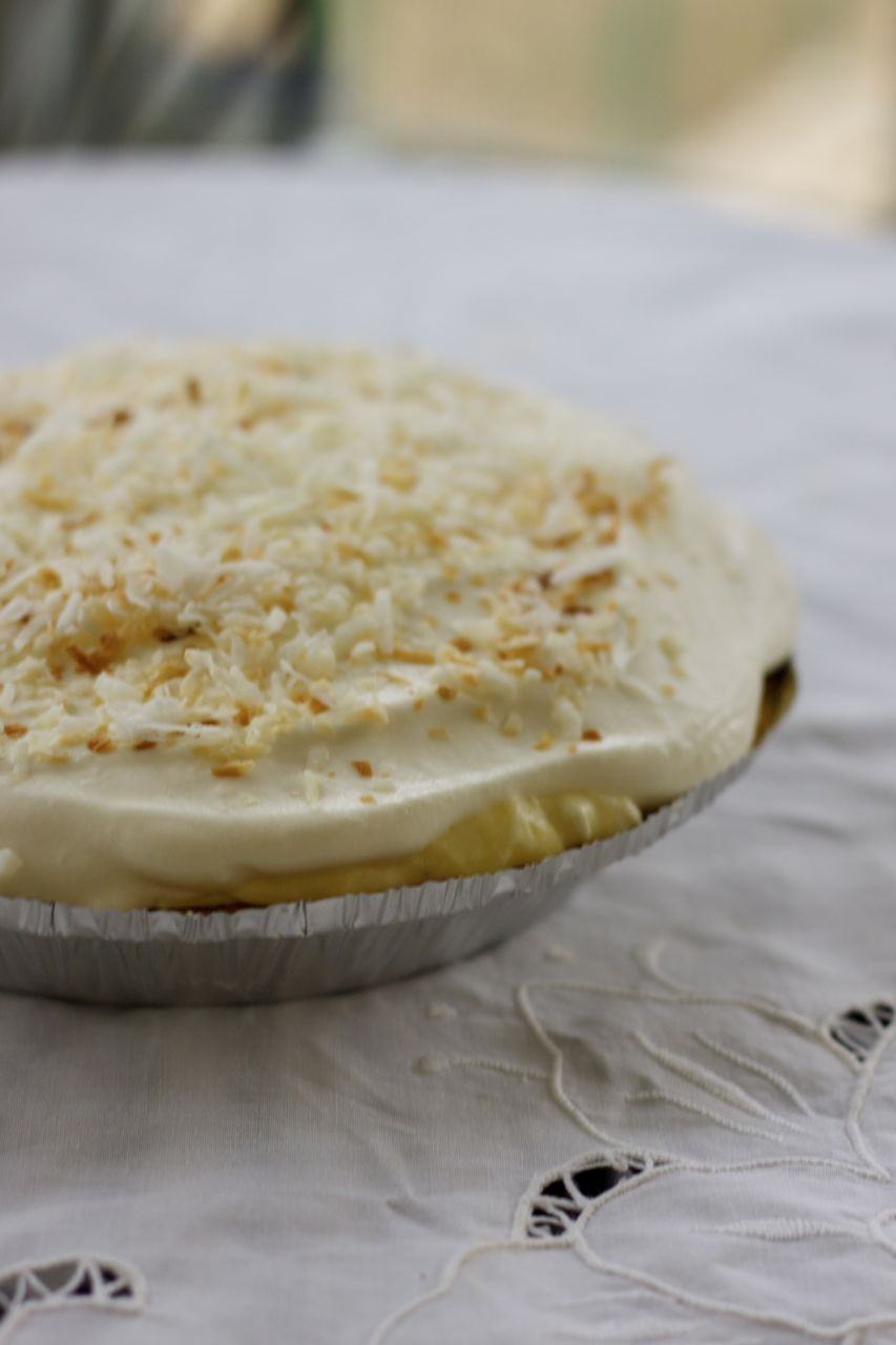 half homemade coconut cream pie