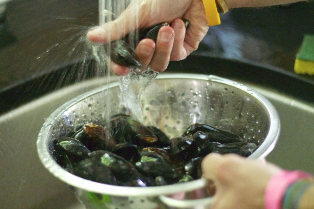 rinsing mussels
