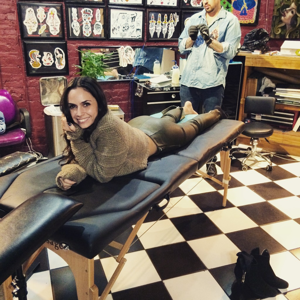 Wife naked in tattoo shop