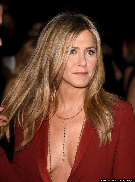 jennifer aniston topless red suit