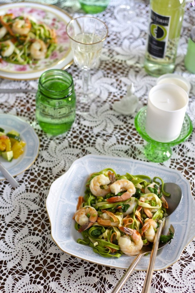 pasta shrimp peas