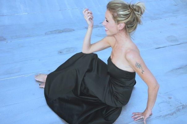 Jordan Reid in a black gown in New York City