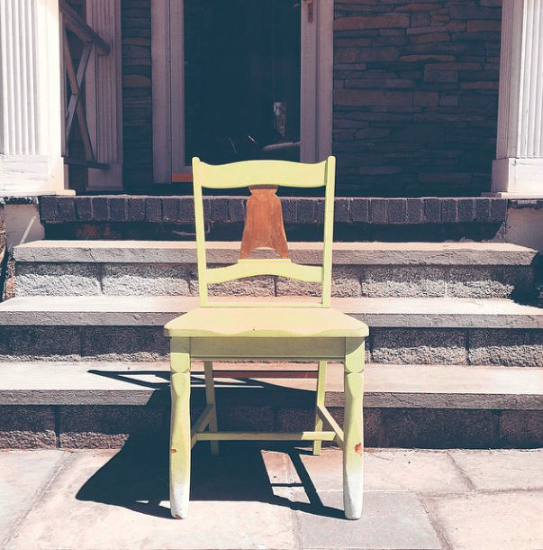 green gold painted chair