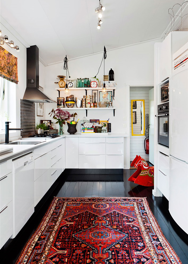 vintage rug kitchen black floor