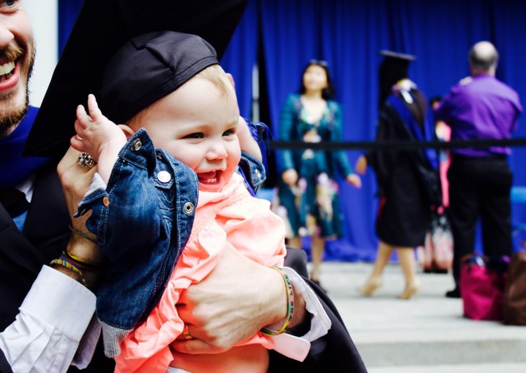 baby at graduation