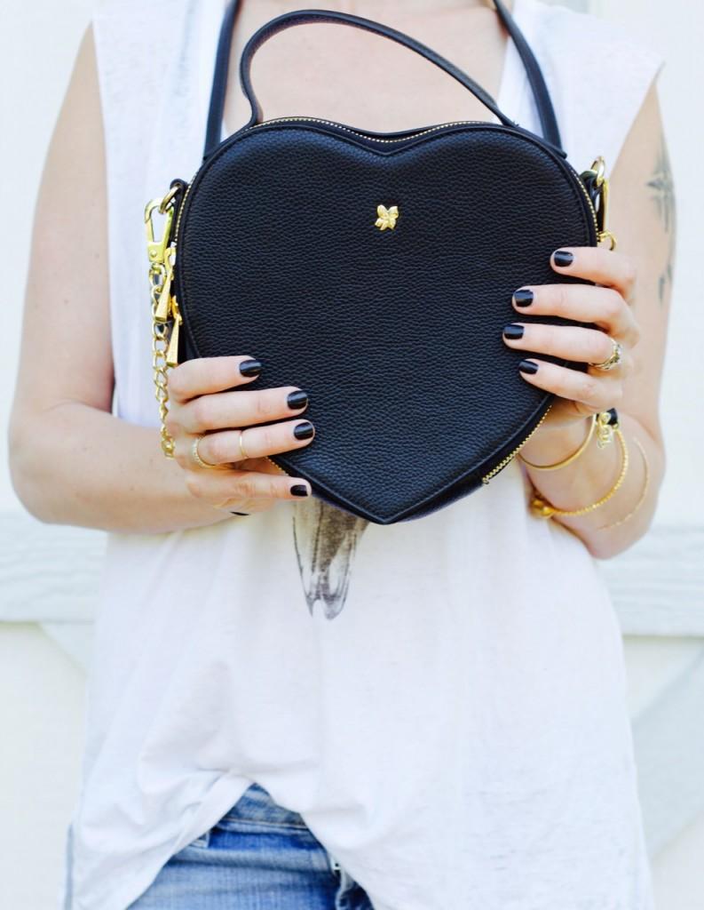 ora delphine heart bag purse