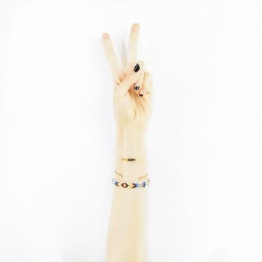 boho bracelet rainbow bead woven