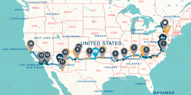 map cross country route trip itinerary