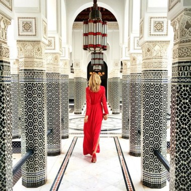 black and white moroccan tile red dress