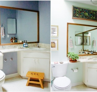 bathroom before and after pale green