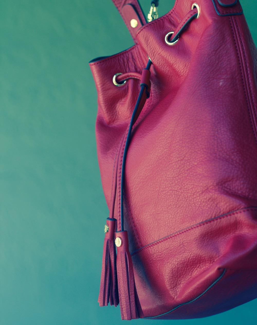 lands end red leather bag