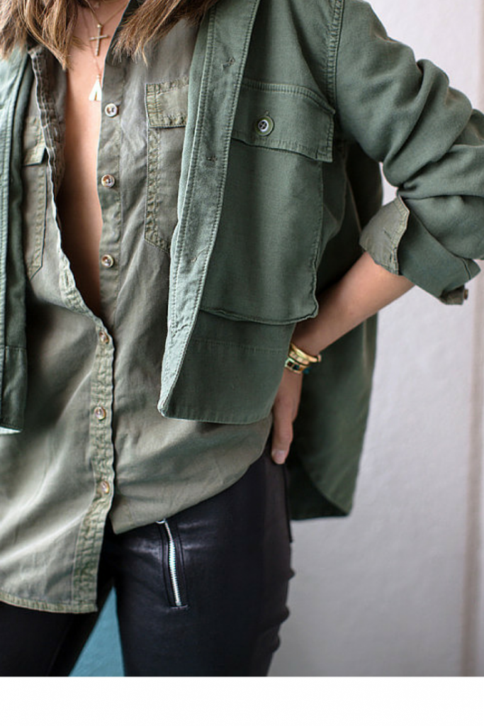 olive army green button down shirt