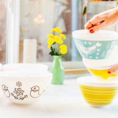 Retro Vintage Charm bowls inspired by Pyrex patterns from the 1950s and 1960s