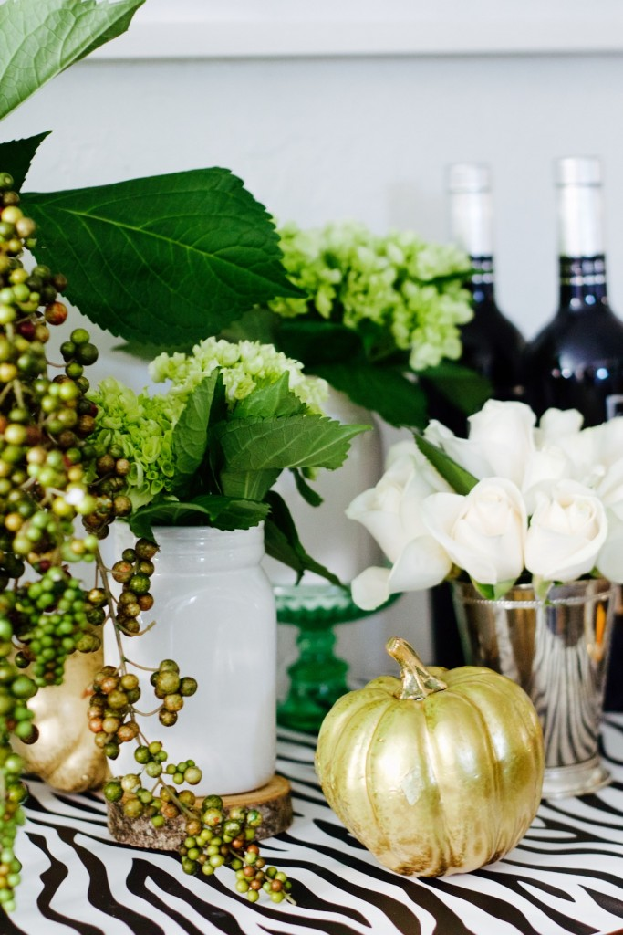 mint, white and gold tablescape for holiday entertaining