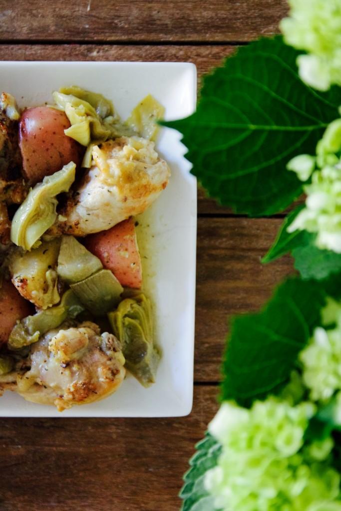 chicken, roast potato and artichoke one-pot dinner for easy entertaining