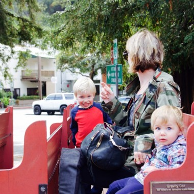 Kids in a gravity car in Mill Valley, California