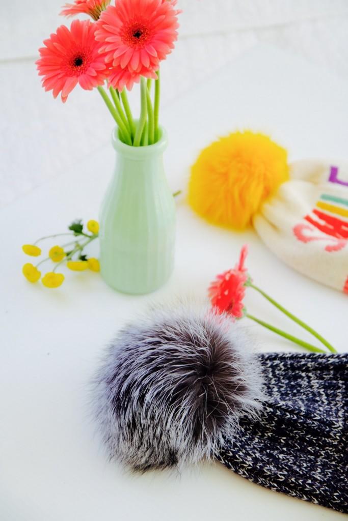 Adrienne Landau oversize knit pom pom beanie