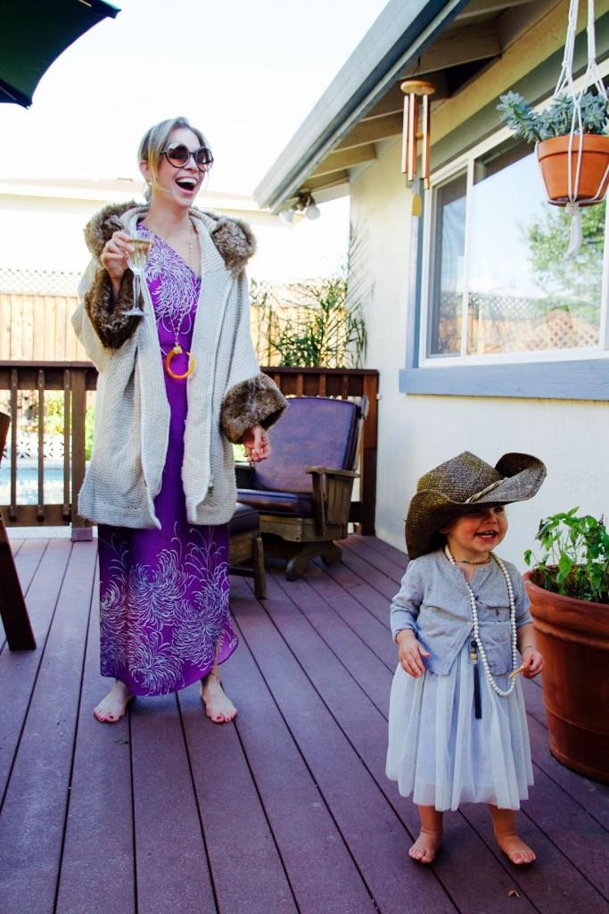 Jordan Reid and daughter in '70s inspired clothing