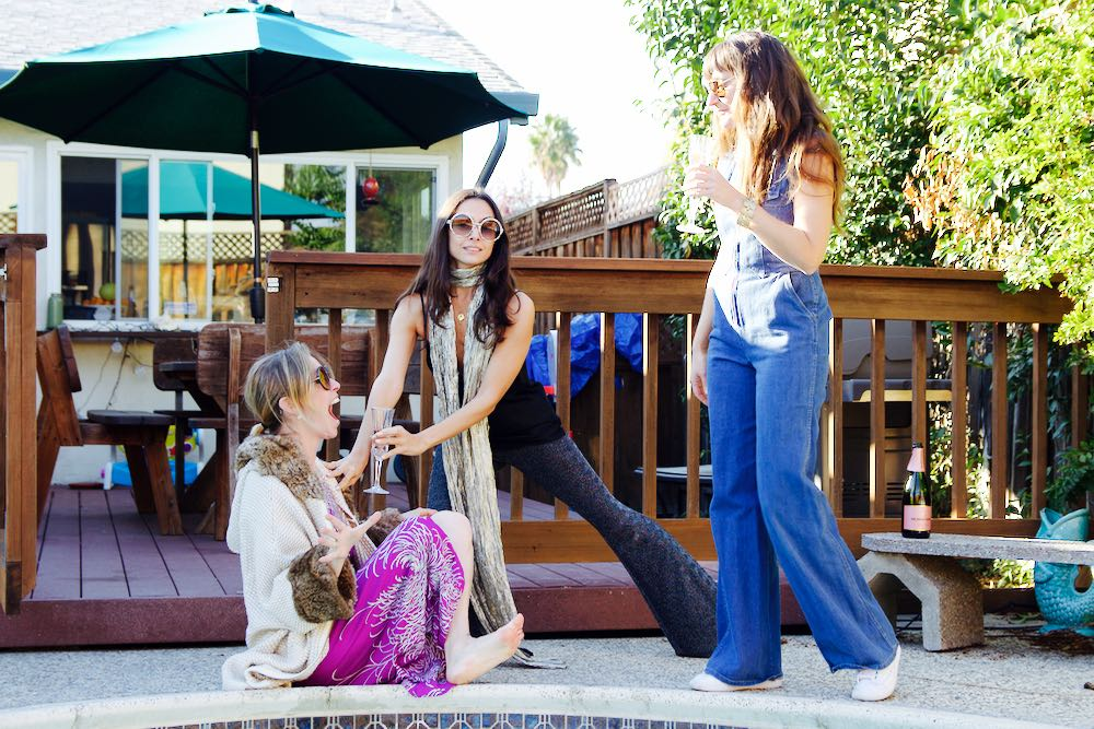 Jordan Reid and friends by her pool at home in San Jose