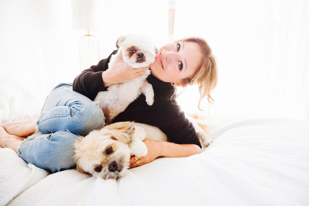 Jordan Reid with her two pet dogs
