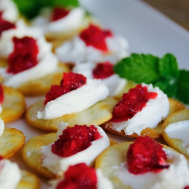 cream cheese and cranberry-orange compote on crackers
