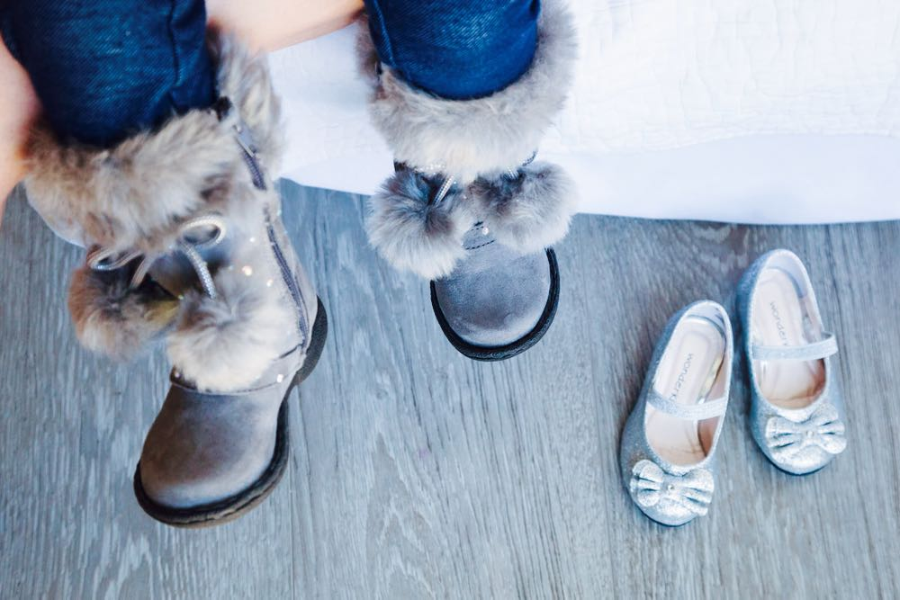 baby girl's pom pom boots and silver sparkly shoes from kmart