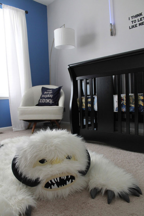 cool nursery for a little boy with a furry rug