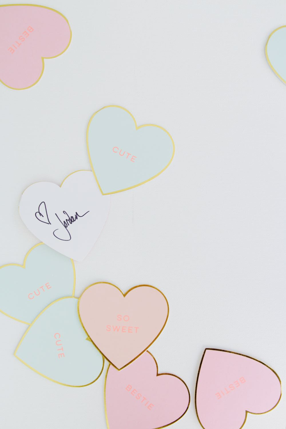 Heart notecards in pink, mint and gold for Valentine's Day