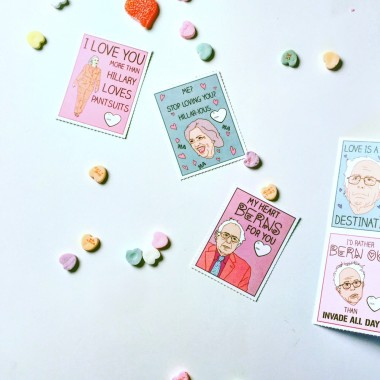 Democratic Presidential Candidate Valentine's Day cards from glam camp