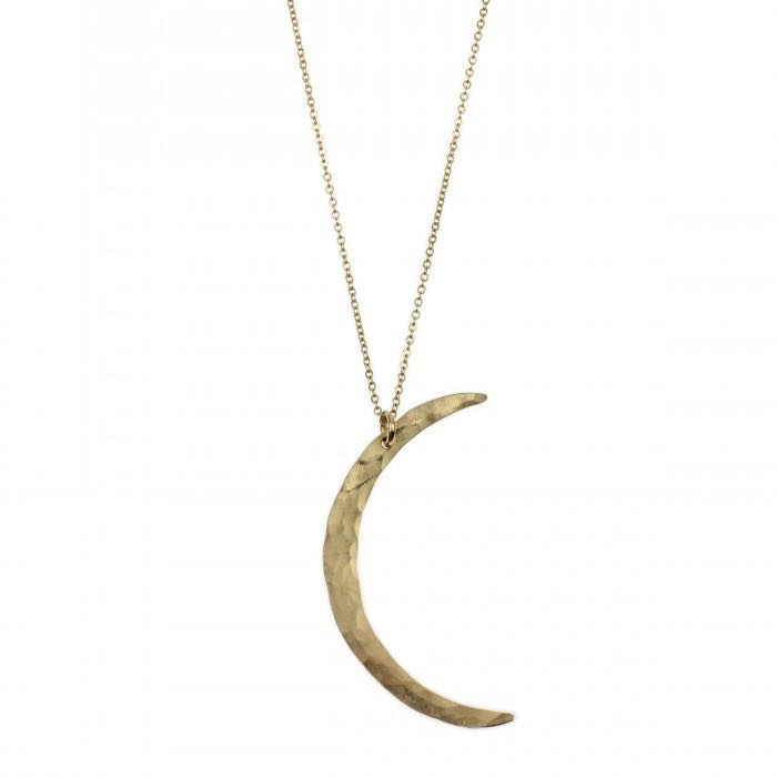 Hammered gold crescent moon charm necklace from glam | camp
