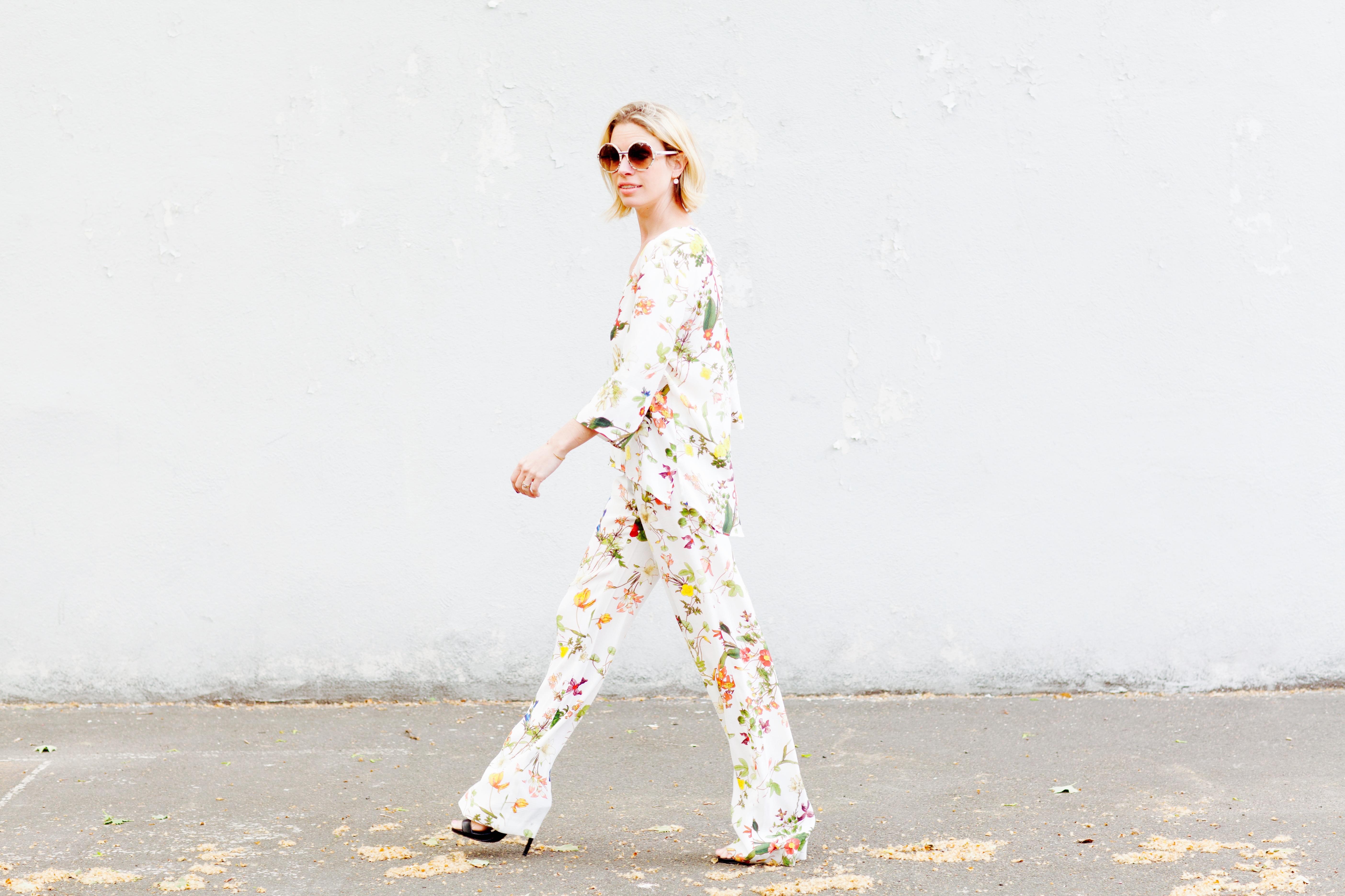 Jordan Reid in a floral silk suit by Zara