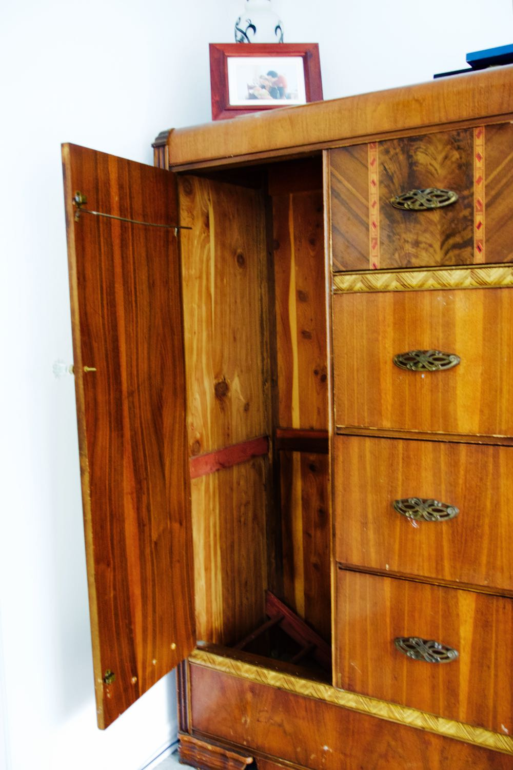 A wood wardrobe and dresser from the 1930s