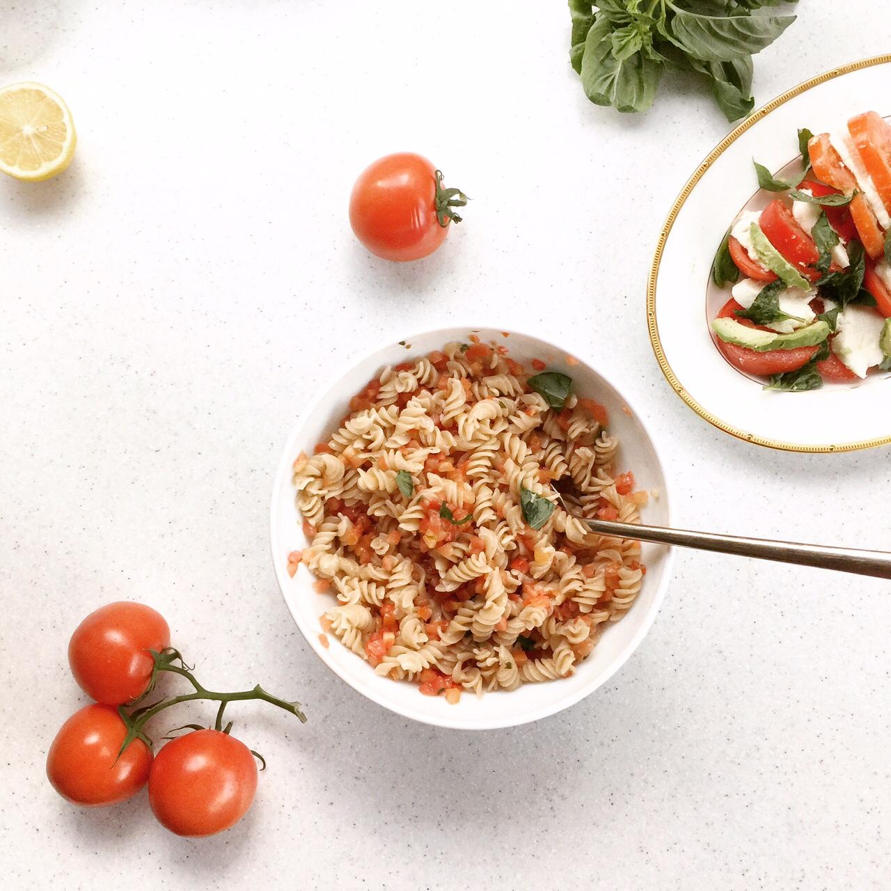 Gluten-free brown rice and quinoa pasta with bruschetta sauce