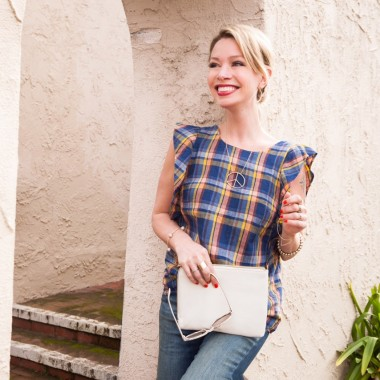 Neiman Marcus CUSP blouse and white clutch