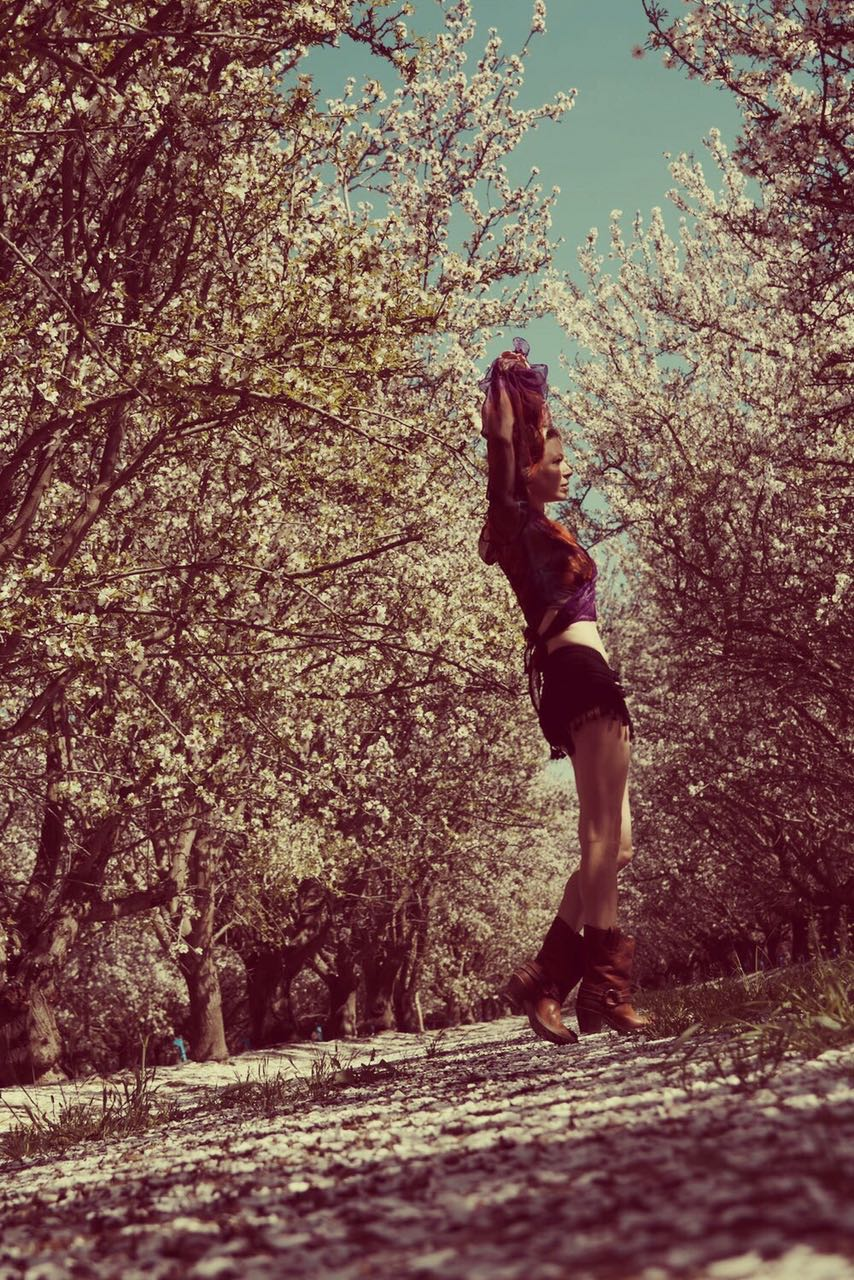 Photo shoot in the almond blossom trees