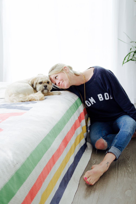 mom bod sweatshirt and lhasa apso dog