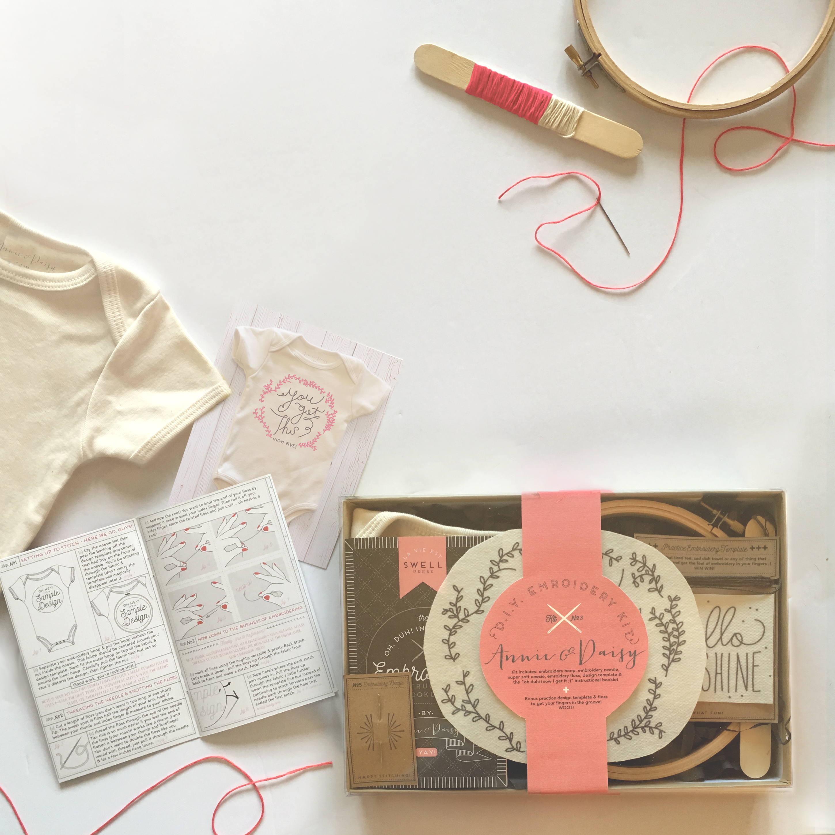 DIY onesie embroidery kit for new moms