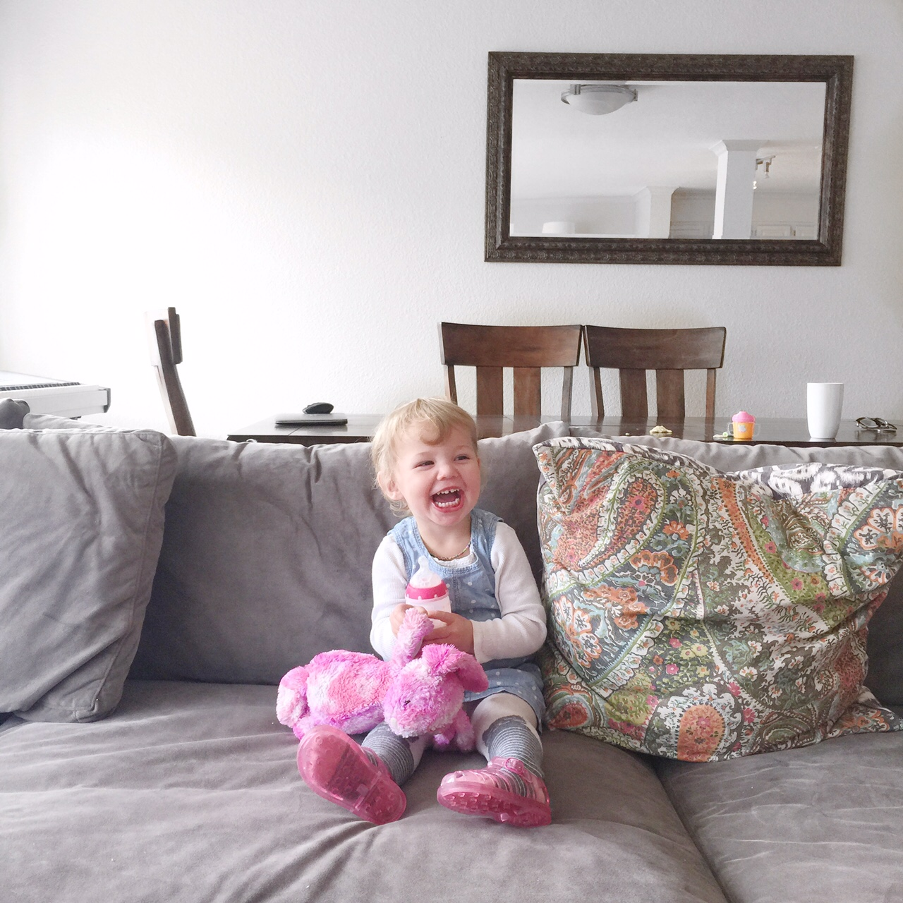 Happy baby on a couch