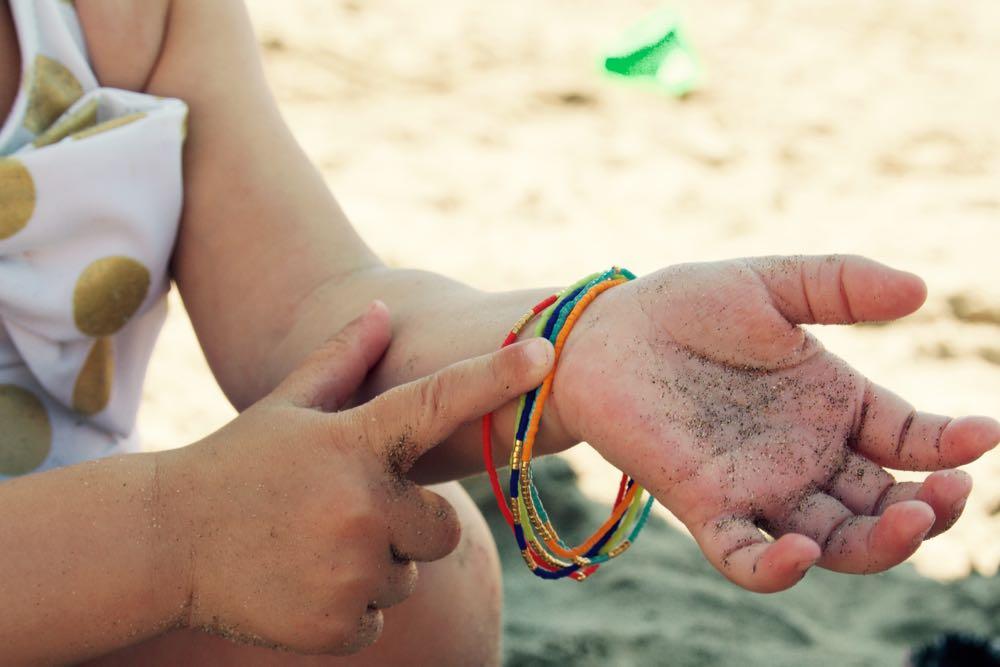 Rainbow beaded bracelets for the beach