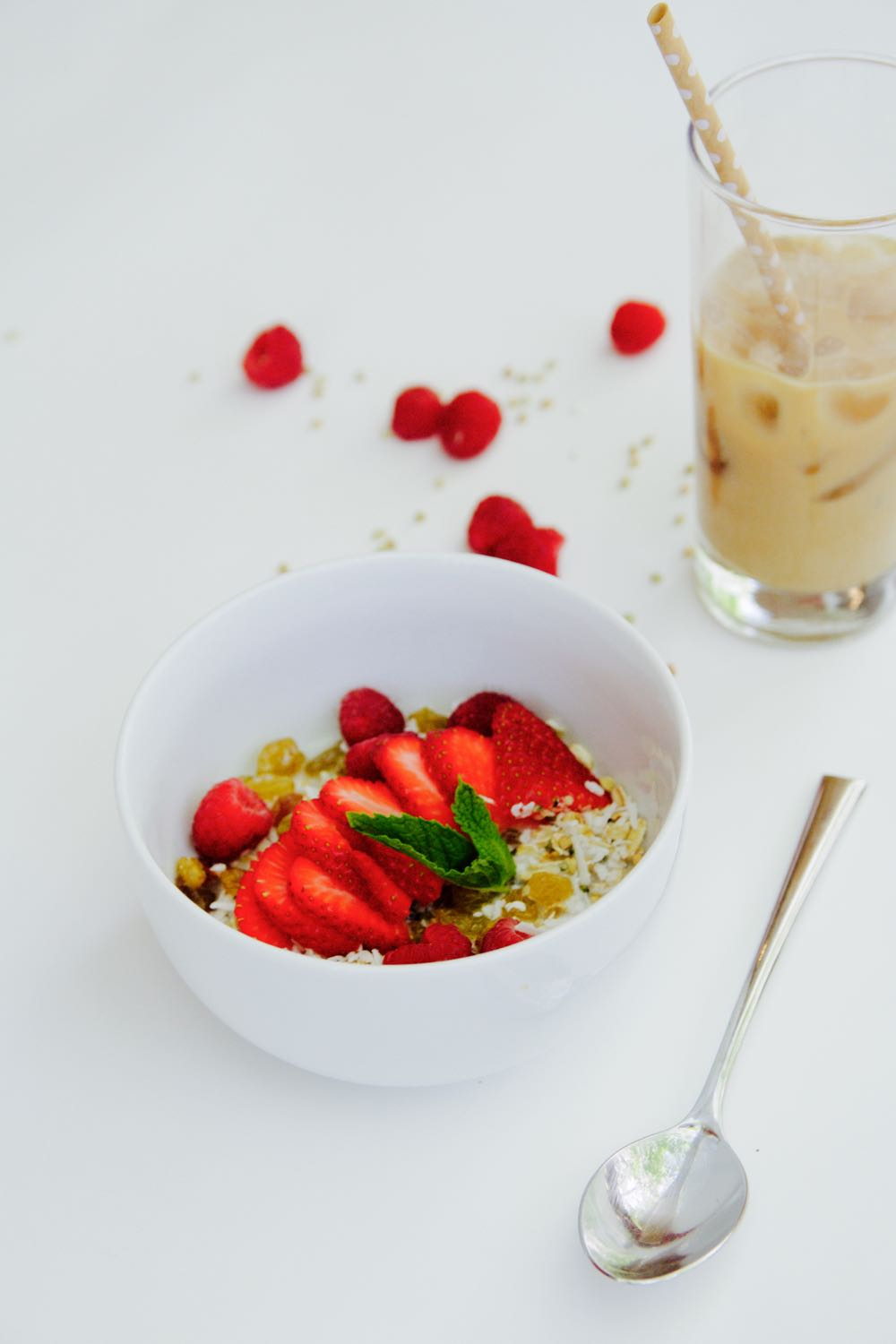 Homemade cold cereal breakfast bowl with berries