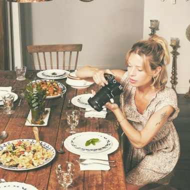 Blogger taking food photographs