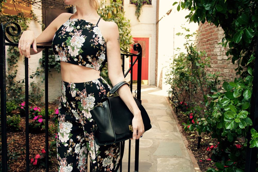 Two piece floral silk jumpsuit from Reformation