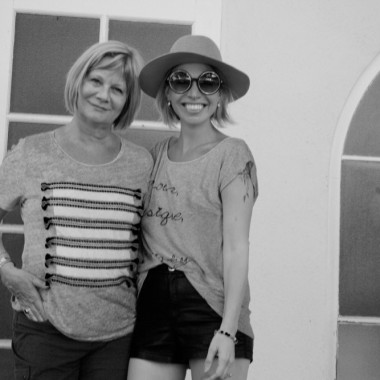 Black and white mother daughter photo