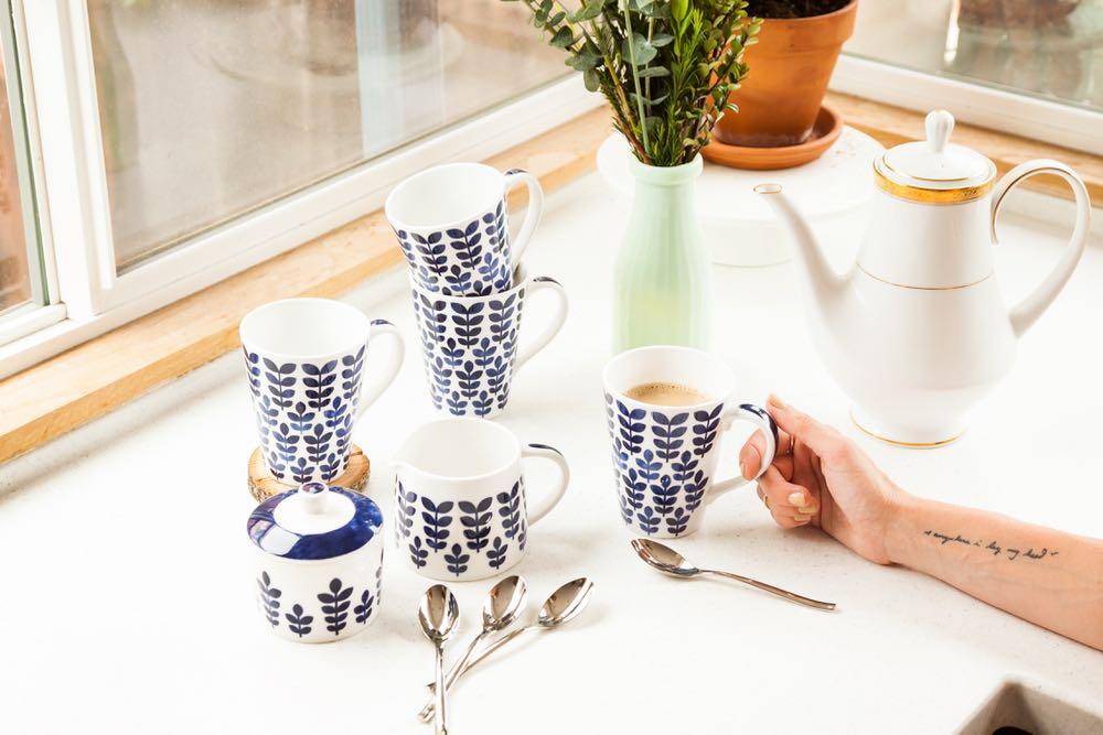 Blue and white Scandinavian style mugs
