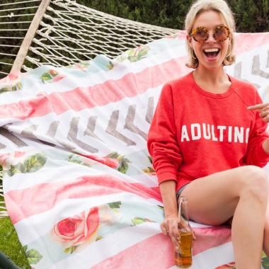 Jordan Reid in the glam | camp Adulting sweatshirt
