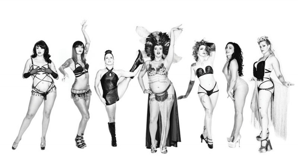 Black and white lineup of burlesque dancers