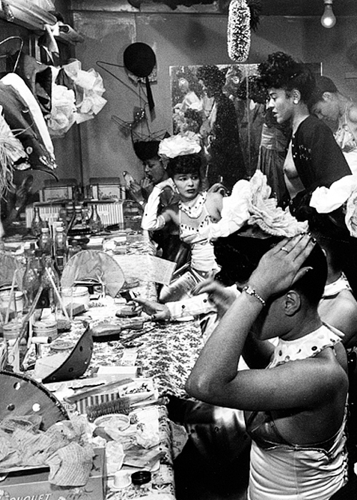 New Orleans 1940s showgirls getting ready backstage